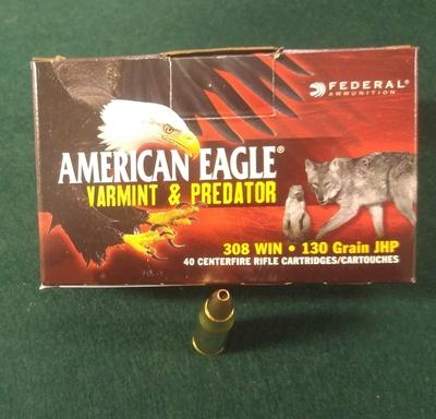 Americn Eagle cal 308 Win, 130 g JHP varmintluoti 40 kpl rasia