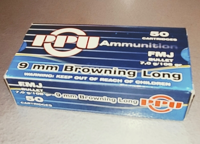 PPU , cal 9mm Browning Long, 7,0 g / 108 gr FMJ, 50 kpl rasia