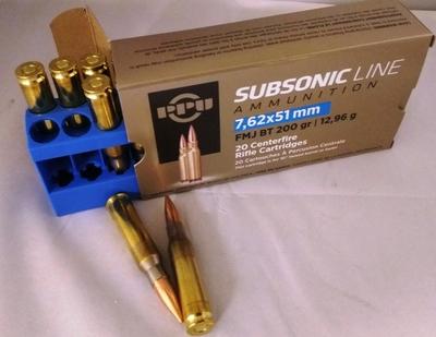 PPU Subsonic .308 Win FMJ BT 12,96g, 20ptr