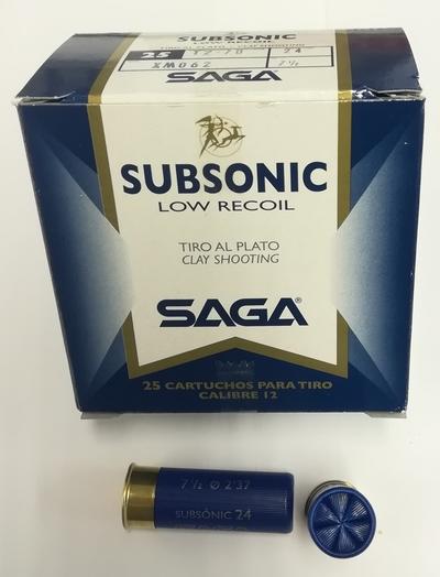 Saga subsonic, cal 12/70, no. 7,5 , 24 g lyijyhaulilla , 25 kpl laatikko