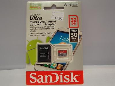 SanDisk Ultra microSDHC kortti ja adapteri