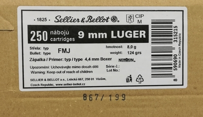 Sellier & Bellot 9mm Luger FMJ 8,0 g / 124 grs