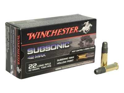 Winchester Subsonic Max  HP 2,59g / 40gr (50kpl rasia) .22 LR