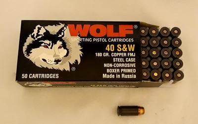 Wolf 40 S&W 180gr copper FMJ 50kpl