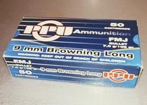 PPU , cal 9mm Browning Long, 7,0 g / 108 gr FMJ, 50 kpl rasia