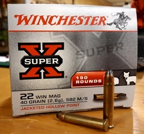 Winchester superx 22 win mag 40gr 582m/s 150kpl